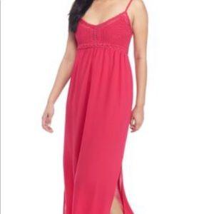 Pink rose crocheted top maxi dress